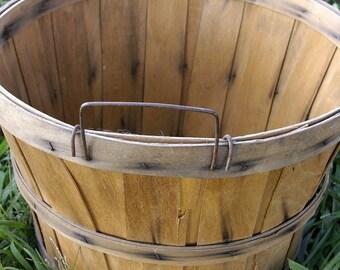 Harvest Bushel Basket / Wood Slat Fruit Bushel Basket