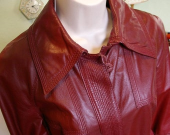 Sak's Fifth Avenue - Quality Red Leather Trench Coat, Size 10 / Like New
