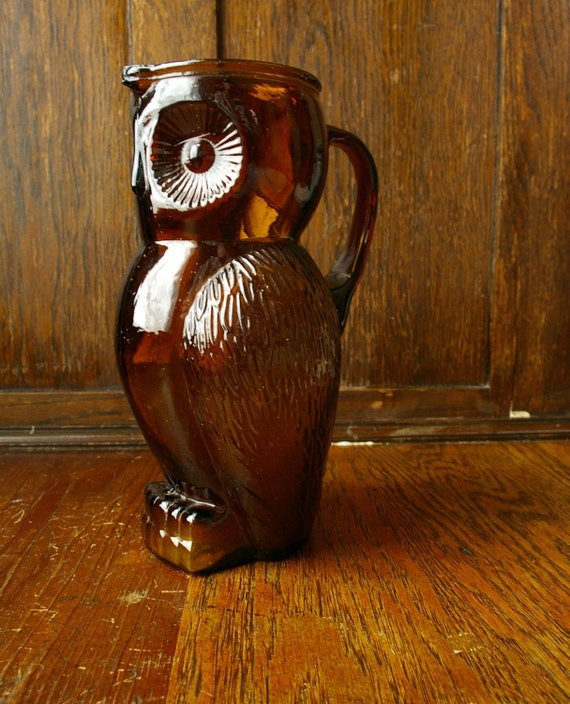 reserved for gingerakesler - Amber Glass Owl Pitcher/ Large Mug