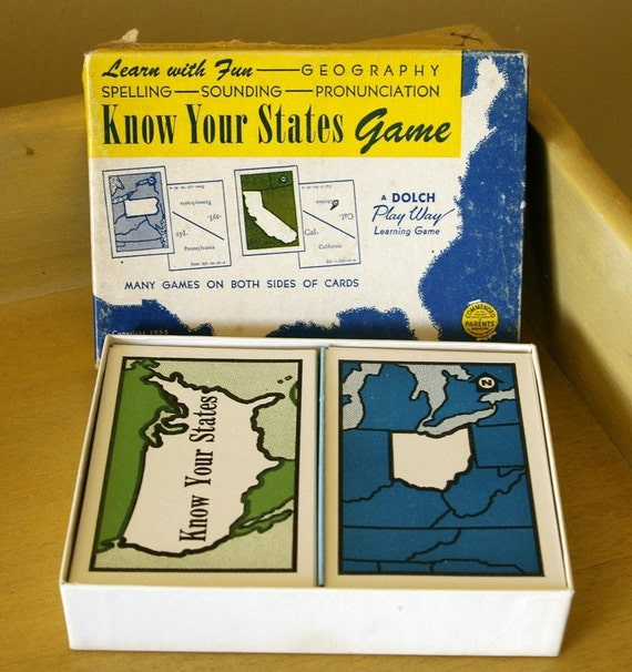 Know Your States Game Flashcards, 1955