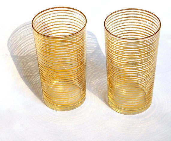 Set of 2 Mad Men Style Gold-Striped Juice Glasses