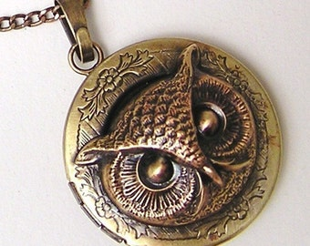 OWL LOCKET, Necklace Pendant, Victorian