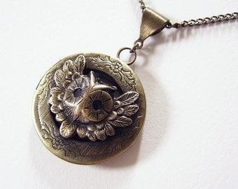 woodland OWL LOCKET, Necklace Pendant