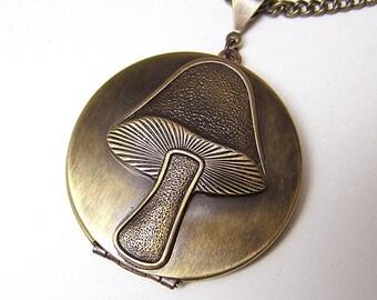 Eat Me Mushroom Locket Alice Wonderland Necklace Pendant