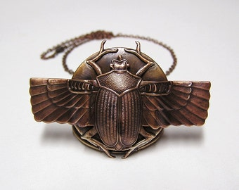 Scarab Beetle Locket, Necklace Pendant