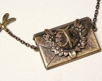 Owl Letter Locket Necklace