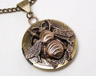 Honey Bee Locket, Necklace Pendant