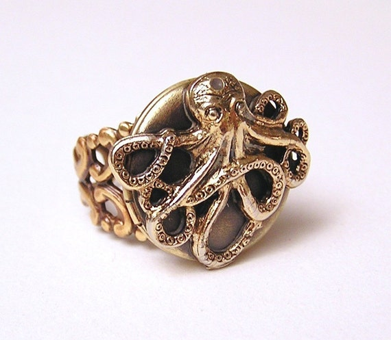Steampunk OCTOPUS LOCKET RING