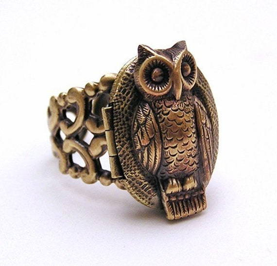 OWL locket Ring, ADORABLE