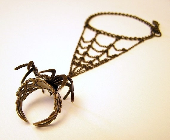 Gothic Steampunk BLACK SPIDER RING with Webbing