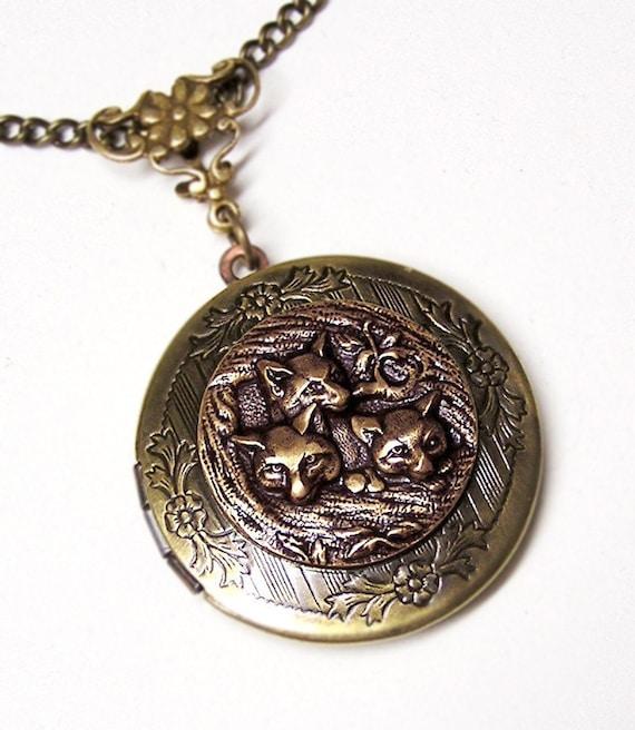 Three FOX LOCKET, Necklace Pendant