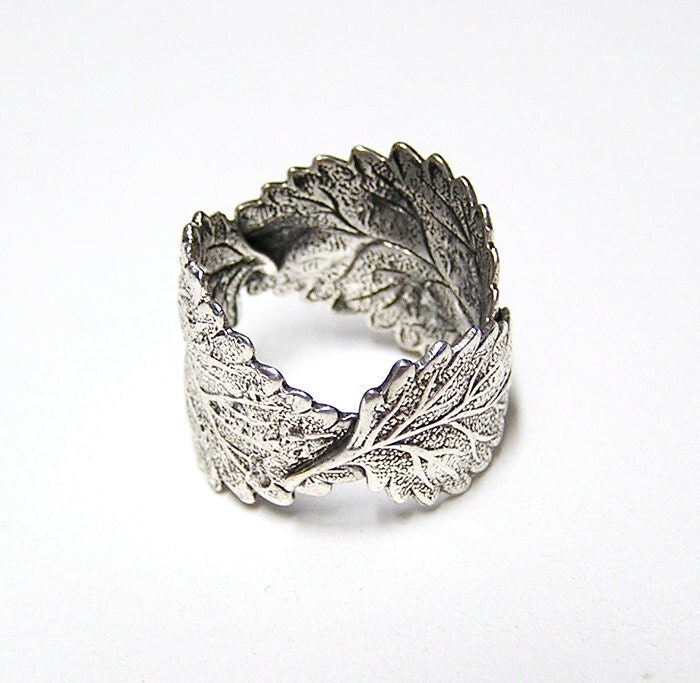 forest silver leaf ring in sterling silver 925