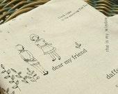 "Zakka ,Boy and Girl, Rabbit,Flower,Plant,Cotton Linen Fabric Cloth 54"" x 19"""