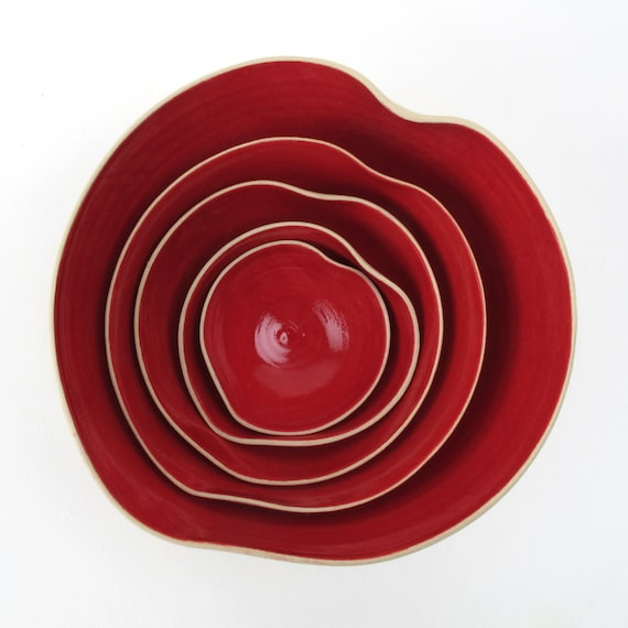 cupidOo red bOwl set of 5 MADE TO ORDER