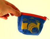Small coin purse in bright blue nappa leather with yellow SLR camera