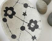 Concrete Fruit Bowl or Bird Bath with Black Flowers