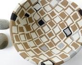 Concrete Bowl or Birdbath in Black White and Brown