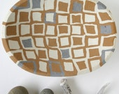 Concrete Fruit Bowl or Bird Bath in Brown, Gray, and White Squares