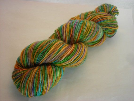 SALE:  Crocus Self-Striping and Hand-Painted Superwash Merino Fingering Weight Sock Yarn -- Green, lavender, blue, orange