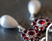 Garnet Swarovski Flowers with Brushed Silver Teardrops - Earrings