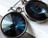 Sparkling Navy Blue Swarovski Crystal and Gunmetal Earrings- Night Sky