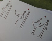 """Three Stick Figure Couples in Love with """"Congratulations"""" - Handmade Eco-Friendly Greeting Card"""