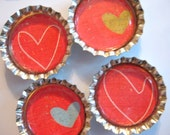 All Heart Bottlecap Magnets - Set of 4