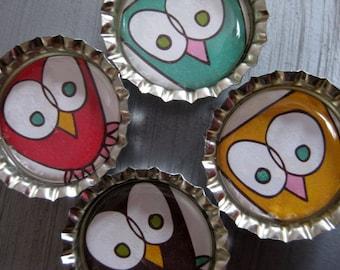 Funky Cartoon Owl Bottlecap Magnets - Set of 4