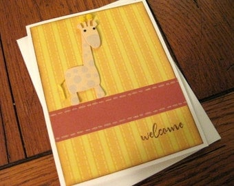 welcome with giraffe handmade baby greeting card