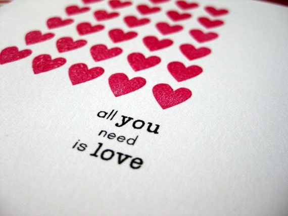 all you need is love with rows of hot pink hearts - handmade greeting card