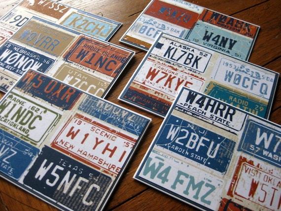 Retro Vintage License Plates Stationery with Coordinating Envelopes - Set of 6 - Handmade Set of Notecards