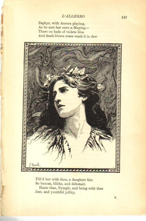 antique 1914 L'Allegro vintage poetry print paper ephemera