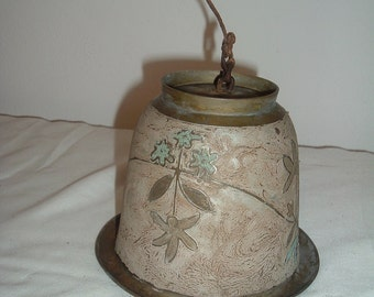 vintage hand painted brass  bell