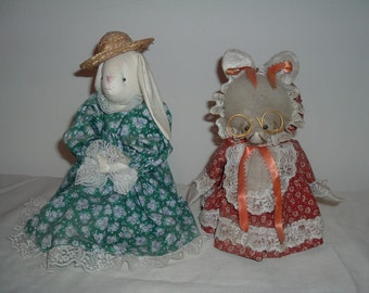 two cute little homemade vintage dolls