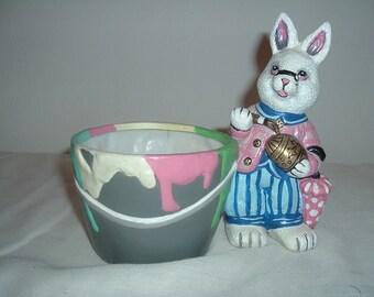 vintage planter of easter bunny