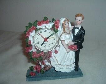 vintage bride and groom clock