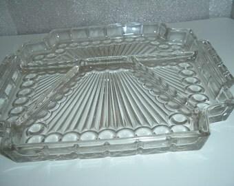 vintage glass relish tray