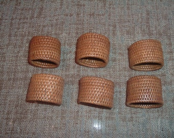 6 vintage bamboo napkin rings