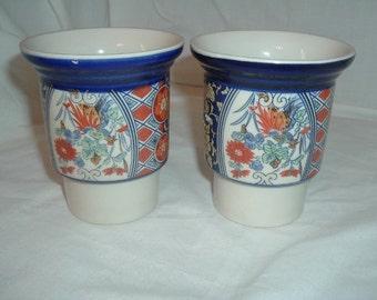 2 oriental pottery cups/vase/ pots