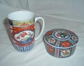 vintage orential trinket box  and cup