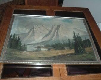 vintage painting of mountain scene