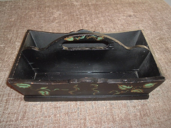 vintage hand made hand painted divided box