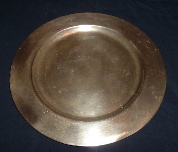 Solid Brass Vintage Plate beautiful center piece or candle holder