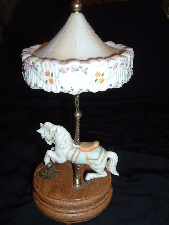Willitts Musical Porcelain Carousel with Oak Base and One Horse