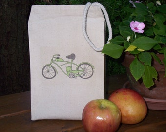 Recycled cotton lunch bag - Canvas lunch bag - For the bike lovers - Gender neutral lunch bag - Unisex lunch bag - Picnic lunch bag