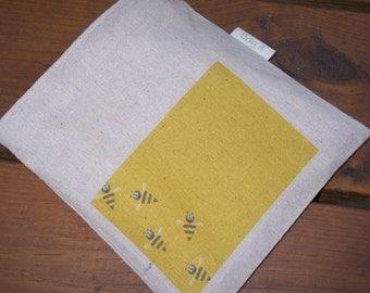 Reusable sandwich bag - Unbleached cotton sandwich bag - Reuse snack bag - Reusable bags set - Happy bees on unbleached cotton