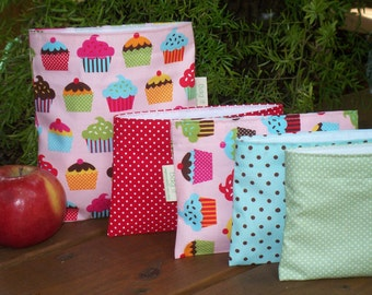 Reusable sandwich and/or snack bag - Girly sandwich bag - Reusable snack bag -  Irresistible cupcakes with snack bag of your choice