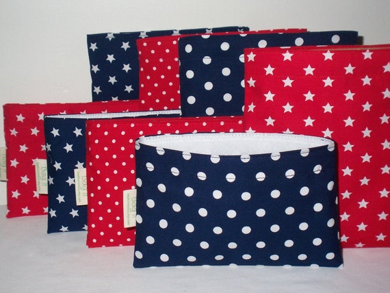 Reusable sandwich and snack bags -  Red, white and blue  - Create your own set - ON S A L E