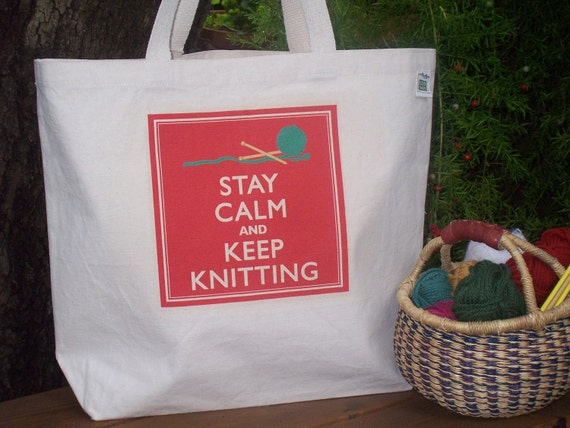 Natural cotton canvas tote - Large canvas bag - Knitting bag - Stay calm and keep knitting