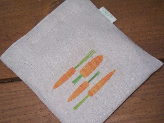 Reusable sandwich bag - Unbleached cotton sandwich bag - Reuse sandwich bag - Ecofriendly snack bag -Carrots on natural unbleached cotton